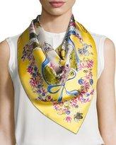 Salvatore Ferragamo Estro Printed Silk Satin Scarf, Yellow