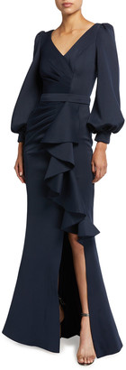 Jovani V-Neck Blouson-Sleeve Draped Ruffle Front Gown