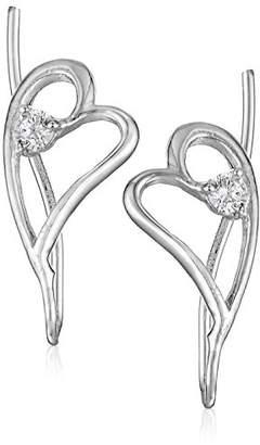 The Ear Pin Sterling White Cubic Zirconia Heart Earrings