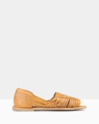 betts Athena Leather Huarache Flats