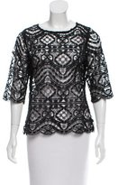 Miguelina Short Sleeve Lace Top