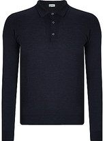 John Smedley Belper Merino Long Sleeve Polo Shirt, Hepburn Smoke