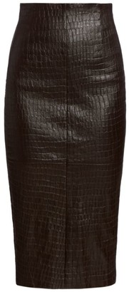 Brunello Cucinelli Leather Snakeskin-Embossed Pencil Skirt