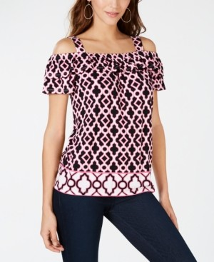 INC International Concepts Inc Petite Ruffled Cold-Shoulder Top, Created for Macy's