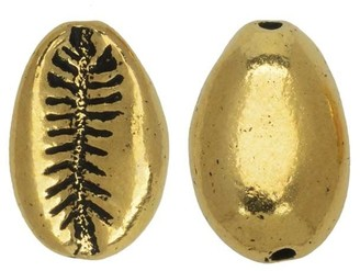 Overstock Pewter Bead, Cowrie Shell 14x9mm, Antiqued Gold Plated, 2 Pieces, by TierraCast