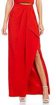 Belle Badgley Mischka Jamille Crepe Maxi Drape Skirt