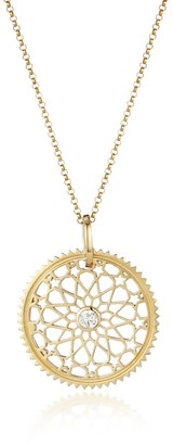 One And One Studio Star Detail Filigree Gold Medallion Pendant With Centre Stone On Chain