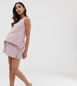 Asos DESIGN Maternity mix & match pyjama flippy jersey short-Pink