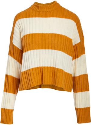 Arpeggio Knitwear Women's Pullover Sweaters Mustard - Mustard Stripe Rib-Knit Mock Neck Sweater - Women