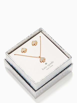 Kate Spade Everyday Spade Glitter Studs And Pendant Set