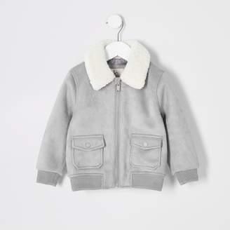 River Island Mini boys Grey faux suede borg bomber jacket