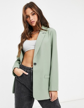 ASOS DESIGN mansy single breasted suit blazer in sage