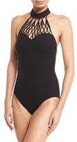 Gottex Black Diamond High-Neck One-Piece Swimsuit
