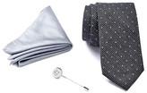 Ben Sherman Mini Dot Tie, Solid Pocket Square, & Button Lapel Pin Box Set