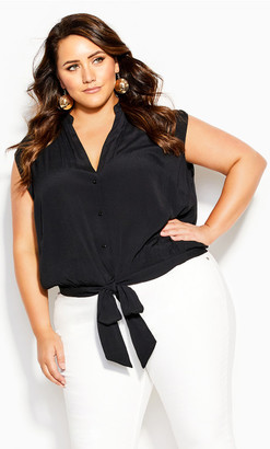 City Chic Simple Knot Shirt - black