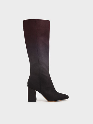 Charles & Keith Multicoloured Felt Knee High Boots