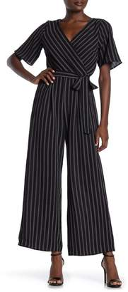 Rowa ROW A Short Kimono Sleeve Stripe Print Jumpsuit