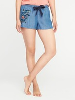Old Navy Embroidered Tencel Sleep Shorts for Women