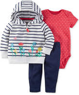 Carter's 3-Pc. Cotton Striped Hoodie, Dot-Print Bodysuit & Pants Set, Baby Girls