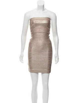Herve Leger Sianna Metallic Dress Rose