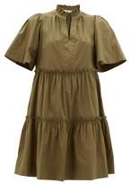Sea Clara Ruffled Tiered Cotton-poplin Dress - Womens - Khaki