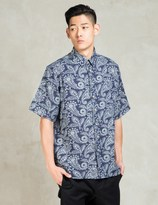 CLOT Floral Navy Washed Pattern S/S Shirt