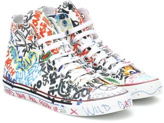 Vetements Graffiti high-top canvas sneakers