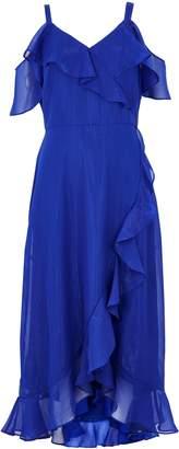 Wallis Blue Metallic Ruffle Midi Dress