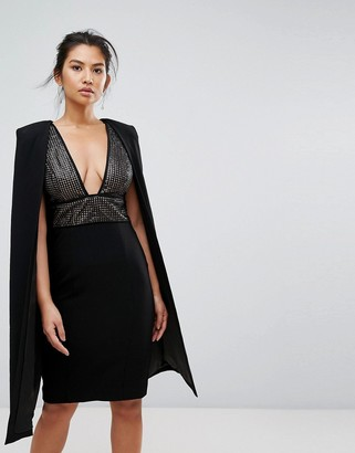 Misha Collection Structured Sequin Midi Dress With Cape Overlay-Black