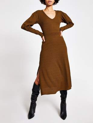River Island Puff Sleeve Jersey Midi Dress -Khaki