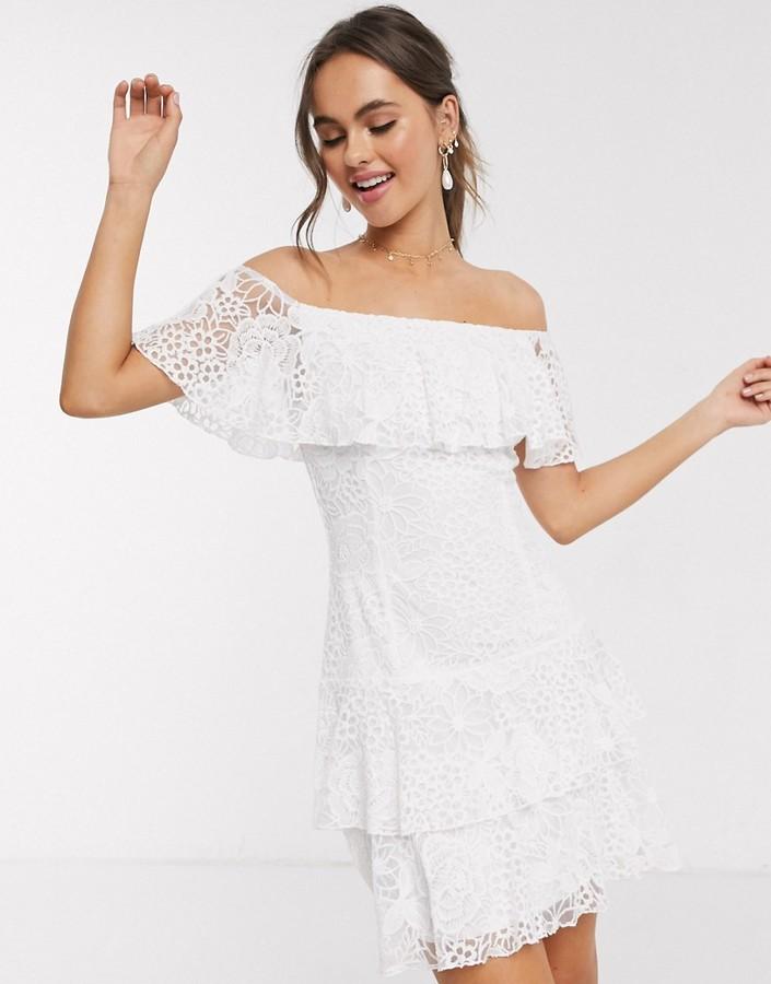 Little Mistress lace ruffle mini dress in white