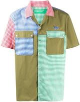 Benetton gingham patchwork bowling shirt