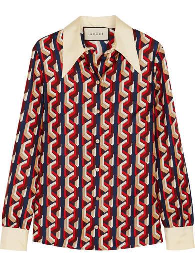 Gucci Printed Silk-twill Shirt - Red