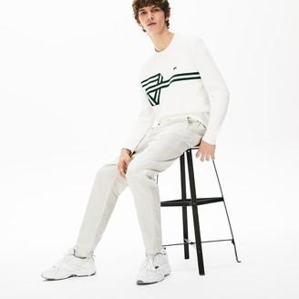 Lacoste Men's Fine Striped Cotton- Linen Chinos