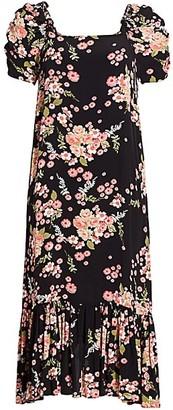 By Ti Mo Summer of Love Puff-Sleeve Flounce Midi Dress