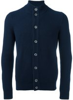 Barba ribbed high neck cardigan