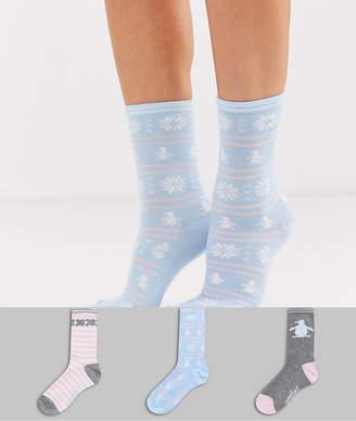 Original Penguin Penguin 3 pack sock giftbox in star and festive-Multi