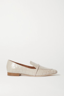 Malone Souliers Jane Croc-effect Leather Loafers - Gray
