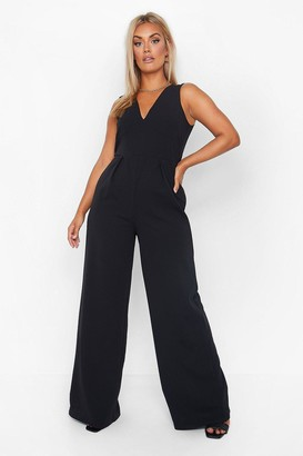 boohoo Plus Plunge Wide Leg Jumpsuit
