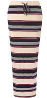 Dorothy Perkins Womens Blush Stripe Tie Maxi Skirt- Pink
