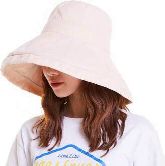 YEKEYI Sun Hat for Women Sun Protecetion Wide-Brimmed Sun Hats Adjustable Beach Hat Large Wide Brim Visors Beige