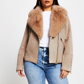 River Island Womens Plus Brown quilted faux suede biker jacket