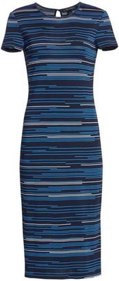 St. John Intarsia Stripe Knit Midi Dress