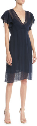 Tory Burch Madison Grid-Textured Georgette Dress