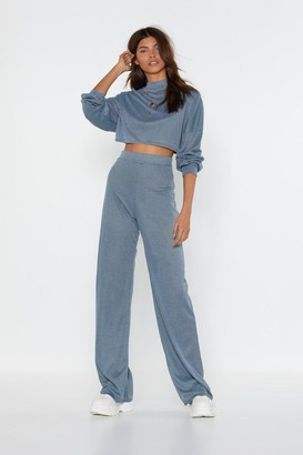Nasty Gal Womens Back to Basics Crop Top and Pants Lounge Set - Blue