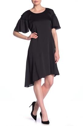 Robbie Bee Flutter Sleeve Asymmetrical Dress