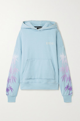 Amiri Oversized Embroidered Printed Cotton-jersey Hoodie - Sky blue