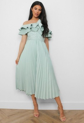 Missguided Sage One Shoulder Pleated Midaxi Dress
