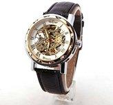 Next Classic Men's Black Leather Dial Skeleton Mechanical Sport Army Wrist Watch- WTH0743