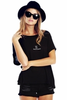 Wildfox Couture Gemini Astrology Boy Tee in Clean Black